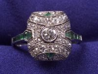 Art Deco Platinum, Diamond and Emerald Ring
