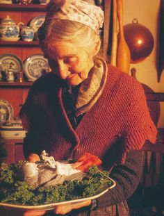 Audrey Eclectic Folk Art: Tasha Tuesday - Tasha Tudor and her pet grey parrot play a trick on dinner guests