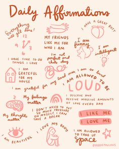 Daily affirmations art print mantras encouragement illustration reminder gratitude gratefulness self love body positive bathroom wall 20 ideas for self care sunday Affirmations Positives, Daily Affirmations, Healing Affirmations, Morning Affirmations, Motivational Quotes, Inspirational Quotes, Self Care Activities, Wellness Activities, Self Love Quotes
