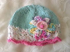 Color combo inspiration Hand Knitted Baby Hat in White Lace  Turquoise par CottonPickings, $26.00