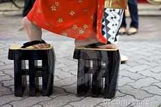 Japanese Women Wearing Traditional Zori Shoes
