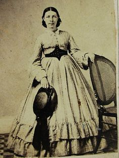 Civil War Era CDV Photo of Young Woman Wearing Lovely Hoop Dress Hat Albany NY   eBay