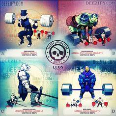 leg exercises: squats, stiff leg deadlifts, landmine lunges, deadlifts