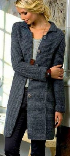 Knitting Patterns Coat Stylish coat is knitted with knitting needles and garter stitch . Crochet Coat, Knitted Coat, Crochet Cardigan, Crochet Clothes, Knitting Designs, Knitting Patterns, Stylish Coat, Coat Patterns, Jacket Pattern