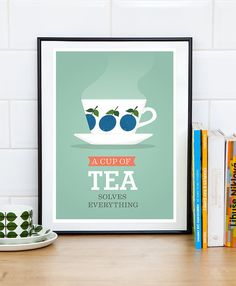 Kitchen print, Tea poster, Art for kitchen, mint kitchen, retro print, A cup of tea solves everything, Tea quote print, Minimalist print,