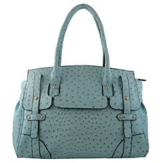 Teal Ostrich-Look Tote