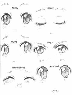 Manga Drawing Tips Manga eyes expressions / Expressions yeux de manga - Anime Girl Drawings, Art Drawings Sketches, Cute Drawings, Chibi Drawing, Anime Eyes Drawing, Drawing Faces, Girl Eyes Drawing, Animae Drawings, Art Illustrations