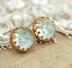 Aquamarine gemstone stud earrings - 14k Gold filled Crown settings seafoam aquamarine stone.