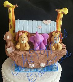 Noah's Ark Cake Topper Great for baby showers and Birthday decorations Cake ,Black and white background is not included is only for sample, you are buying the topper with the black background As shown Baby Shower Centerpieces, Baby Shower Favors, Baby Shower Cakes, Baby Shower Parties, Baby Shower Decorations, Baby Showers, Noahs Ark Cake, Noahs Ark Theme, Safari Decorations
