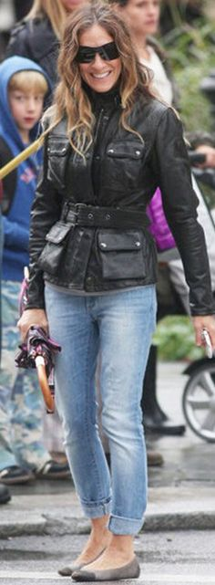 Jacket - Belstaff Belstaff 'Triumph' jacket  faded jeans may be out but look great on her...