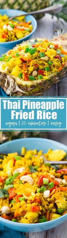 This Thai pineapple fried rice is one of my favorite vegetarian recipes! It's vegan, super easy to make, and sooo delicious! And it reminds me so much of my last trip to Thailand! Find more healthy recipes at veganheaven.org