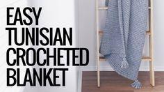 Easy Tunisian Crocheted Blanket with Tassels