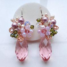 Wedding earrings  Pink earrings Crystal earrings Chic