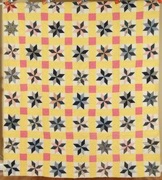 CHEERY, WELL QUILTED Vintage 20's Variable Stars Antique Quilt ~NICE YELLOW!