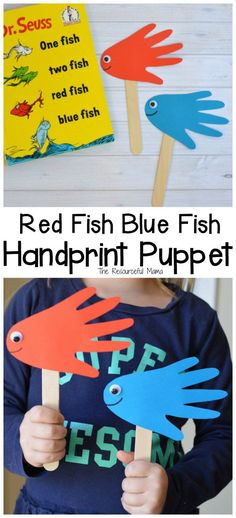 Red Fish Blue Fish Handprint Puppets Cute handprint fish puppets inspired by Dr. Seuss One Fish Two Fish Red Fish Blue Fish. Dr Seuss Activities, Fish Activities, Craft Activities For Kids, Preschool Crafts, Book Activities, Crafts For Kids, Craft Ideas, Preschool Ideas, Fish Handprint