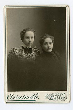 Cabinet Card Vintage Photo 2 Lovely Sisters ID'D Muncie Indiana   eBay