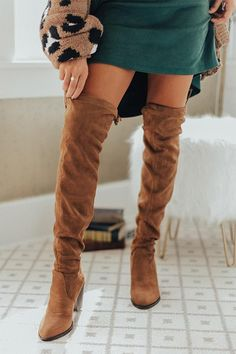 The Alice Faux Suede Thigh High Boot In Brown - picverb. High Heel Sneakers, High Heels, Brown Thigh High Boots, Womens Thigh High Boots, Suede Material, Bold Fashion, Fashion 101, Suede Boots, Heel Boots
