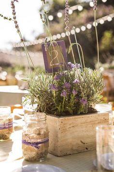 Lavendel Centerpiece mit Tischnummer