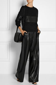 DKNY | Faux leather wide-leg pants