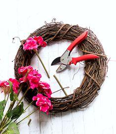 Geranium Monogram Wreath & My Secret Pinterest Boards - It All Started With Paint Initial Door Wreaths, Monogram Wreath, Monogram Letters, Pink Wreath, Hydrangea Wreath, Pink Hydrangea, Burlap Ribbon, Wreath Ideas, Long Weekend