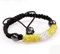 52x9mm Bracelet Jewelry Findings Tube Shape Bright Yellow and White