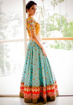 Indian Ghagra Choli Designs 2015 Collection Pictures With Price for wedding day as Bridal are very Curious about the Latest Indian Ghagra Choli Designs so do have a look. Indian Fashion Trends, India Fashion, Asian Fashion, Latest Fashion, Choli Designs, Lehenga Designs, Indian Attire, Indian Ethnic Wear, Indian Style
