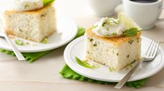 Slices of tender white cake feature pretty flecks of fresh mint. The rum glaze and whipped cream garnish are great!