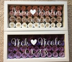 Items similar to Paper Shadow Box on Etsy Flower Shadow Box, Diy Shadow Box, Shadow Box Frames, Rolled Paper Flowers, Paper Flowers Diy, Fabric Flowers, Wedding Boxes, Wedding Gifts, Wedding Shadow Boxes