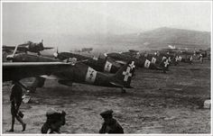 """The 51st Stormo Caccia and its """"Folgore"""" at the airfield of Gela, Sicily, 1943."""
