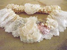 OOAK Ivory Lace Wedding Garter Handrolled Flowers by Weddingzilla, $40.00