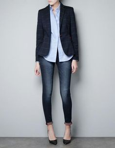 Checked Wool Blazer With Elbow Patches