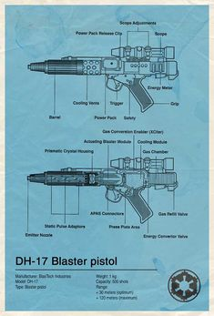 Star Wars Blue Print Designs - DH-17 Blaster Pistol | source: http://www.flickr.com/photos/85791047@N00/