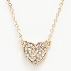 LC Lauren Conrad Gold Tone Simulated Crystal Heart Necklace