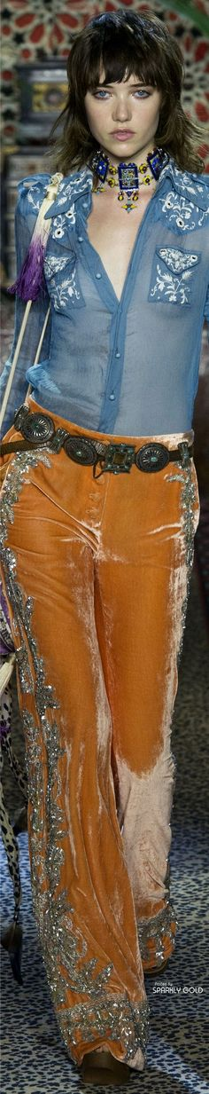 Roberto Cavalli S-17 RTW: necklace, embroidered shirt, velvet flared pants.
