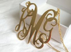 Monogram Necklace Gold with 3 Initials Letters Large Inch Monogrammed Pendant customized gift - Bridesmaid Gift for wedding Monogram Jewelry, Monogram Necklace, Monogram Gifts, Heart Pendant Necklace, Monogram Initials, Gold Necklace, Pink Sapphire, Jewelry Trends, Bridesmaid Gifts