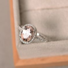 Bague de fiançailles, la morganite rose pierres précieuses, bague morganite naturel, anneau halo, sterling silver
