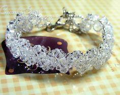 Swarovski pulsera brazalete de cristal rojo y blanco por candybead