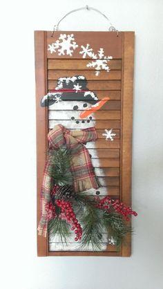 Shabby Chic Shutter SNOWMAN Holiday Christmas by ThreeTwigsDesigns