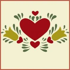 Dutch Heart 2 Stencil- Folk Art Stencils - Fraktur- The Artful Stencil Stencil Painting, Tole Painting, Stenciling, Rosemaling Pattern, Scandinavian Folk Art, Scandinavian Embroidery, Painted Chest, Arte Popular, Stencil Designs