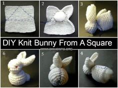 DIY Knit Bunny From A Square Free Pattern and Video: Knit or crochet a square to sew a bunny (easy sew project to make towel bunny, too) Crochet Butterfly Free Pattern, Owl Crochet Patterns, Knitting Patterns, Easy Knitting, Easter Crochet, Crochet For Kids, Diy Crochet, Quick Crochet Gifts, Knitted Bunnies