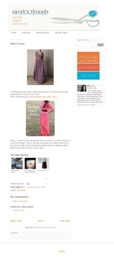 The website 'http://www.sarahs-threads.com/2012/04/maxi-dress.html' courtesy of @Pinstamatic (http://pinstamatic.com) [I am LOVING this header! Clean, simple, & direct]