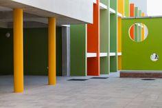 Heideveld Primary School - colourful foyer Primary School, School Design, Foyer, Schools, Urban, Upper Elementary, School, Foyers, Elementary Schools