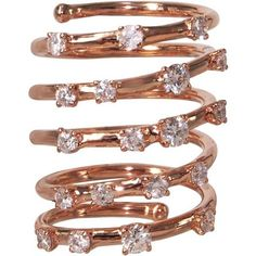 "Plukka """"Wind It Up"""" 18K Rose Gold Diamond Ring ($3,600) ❤ liked on Polyvore featuring jewelry, rings, accessories, rose gold diamond ring, 18 karat gold jewelry, 18k ring, sparkle jewelry and rose gold rings"