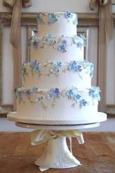 Beautiful Cake Pictures: Baby Blue Little Flowers Tiered Wedding Cake - Blue Cakes, Flower Cake, Wedding Cakes - Wedding Cakes With Flowers, Elegant Wedding Cakes, Beautiful Wedding Cakes, Gorgeous Cakes, Wedding Cake Designs, Pretty Cakes, Wedding Cake Toppers, Blue Wedding Cakes, Wedding Ideas Blue