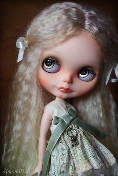 OOAK Custom Blythe doll, hand painted art doll by AlmondDoll-- love her hair