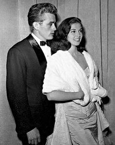 Actor, James Dean w/ girlfriend, actress, Anna Maria Pierangeli - He wasn't Italian & he wasn't Catholic, therefore, mama Pierangeli, didn't approve of him courting her daughter - Anna would marry singer, Vic Damone, but years later confessed that the only man she ever really loved, died in a car crash in 1955 - Anna died of an overdose in 1971 at 39 years old.