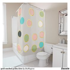 gold smoked polka dots shower curtain #S6GTP