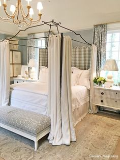 Gorgeous traditional style bedroom with light blue and white checks in Southeastern Designer Showhouse Atlanta 2017