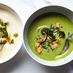 Broccoli-Spinach Soup with Crispy Broccoli Florets and Croutons | Food & Wine