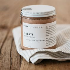 Unwind with our Relax Body Polish. Gently exfoliating and moisturizing, this natural scrub can be used on the face or body and carries a light exotic floral scent. Jar Packaging, Cool Packaging, Cosmetic Packaging, Exfoliating Body Scrub, Diy Body Scrub, Silos Baking Co, Foodie Quotes, Jar Design, Body Polish